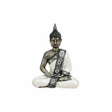Decoratie boeddha beeld zilver/wit 27 cm