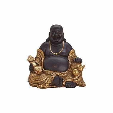 Decoratie happy boeddha beeld bruin/goud 29 cm