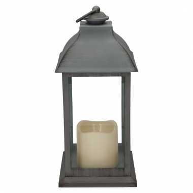Decoratie lantaarn grijs met led lamp 30 cm