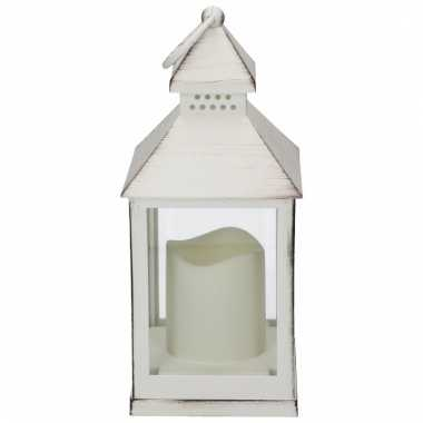 Decoratie lantaarn wit met led lamp 24 cm