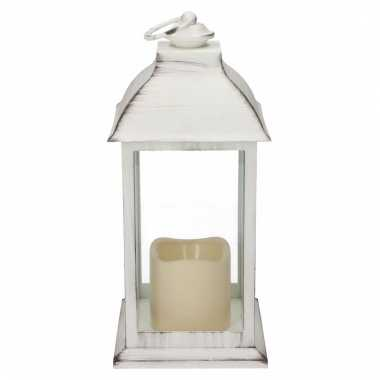 Decoratie lantaarn wit met led lamp 30 cm