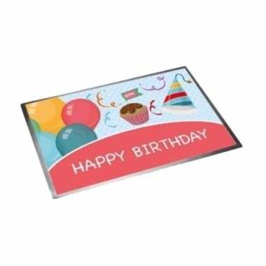 Deurmat/buitenmat verjaardag happy birthday 40 x 60 cm