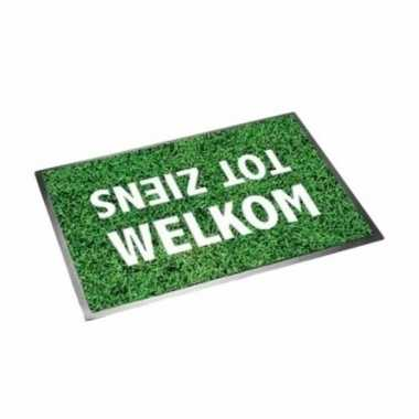 Deurmat/buitenmat welkom/tot ziens grasmat 40 x 60 cm