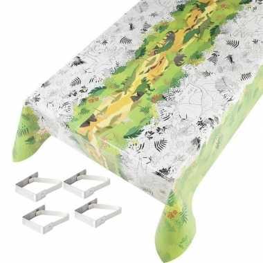 Dinos print tuin tafellaken voor buiten groen/wit inkleurbaar 140 x 2
