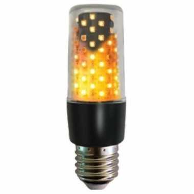 Firelamp vuureffect lamp/peertje zwart e27 fitting onder of boven