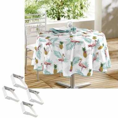 Flamingo print tuin tafellaken voor buiten 160 cm rond pvc/textiel me