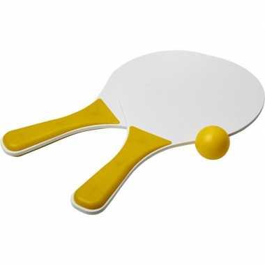 Geel/witte beachball set buitenspeelgoed