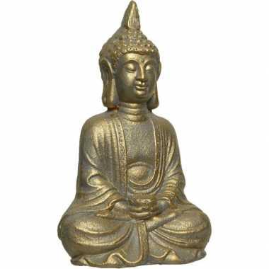 Goud boeddha tuinbeeld 37 cm lotushouding
