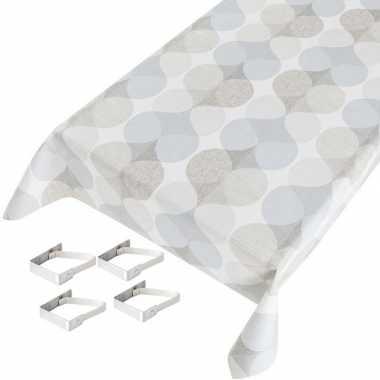Grafische print wit/grijs/blauw tuin tafellaken voor buiten 140 x 240