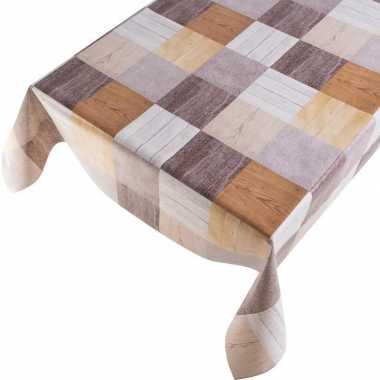 Grijs/bruin houten vakken print tuin tafellaken voor buiten 140 x 245 cm pvc/kunststof