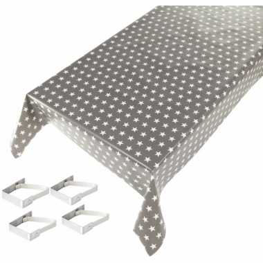 Grijs tuin tafellaken voor buiten sterren print 140 x 240 cm pvc/kuns