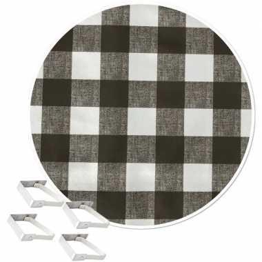Grijs tuin tafellaken voor buiten witte ruiten 160 cm rond pvc/textie