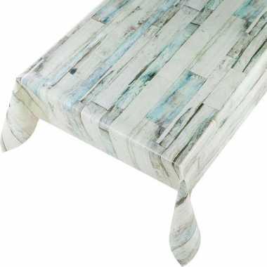 Grijsblauwe houten planken print tuin tafellaken voor buiten 140 x 175 cm pvc/kunststof