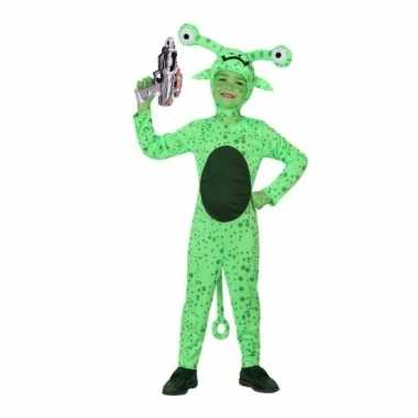 Groen alien kostuum met space gun maat 128