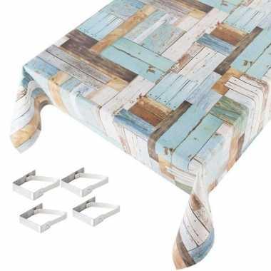 Hout print blauw tuin tafellaken voor buiten 140 x 170 cm pvc/kunstst