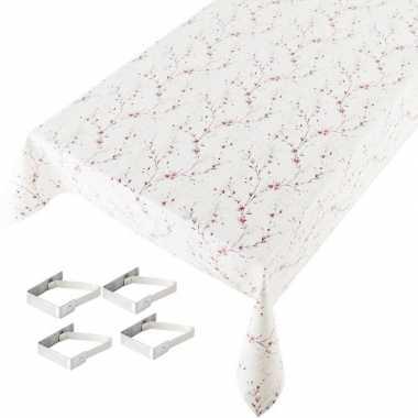 Kersenbloesem print tuin tafellaken voor buiten 140 x 240 cm pvc/kuns