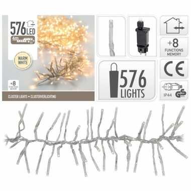 Kerstverlichting cluster warm wit 576 lichtjes