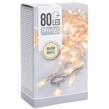 Kerstverlichting transparant snoer met 80 warm witte lampjes 6 meter buiten