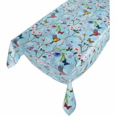 Lichtblauw tuin tafellaken voor buiten vogels/vlinders print 140 x 24