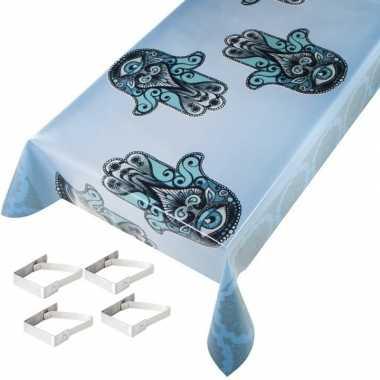 Lichtblauwe tuin tafellaken voor buiten hamsa hand print 140 x 245 cm pvc/kunststof met aluminium klemmen