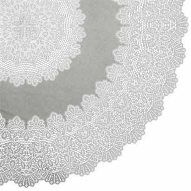 Lichtgrijs tuin tafellaken voor buiten 152 cm rond van kunststof