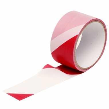Markeerlint plastic rood/wit 25m