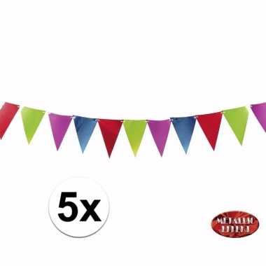 Metallic party vlaggetjes/vlaggenlijnen in kleuren 3.6 meter