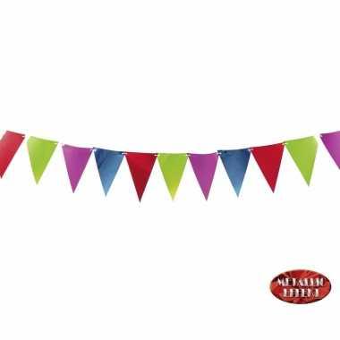 Metallic party vlaggetjes/vlaggenlijnen in kleuren