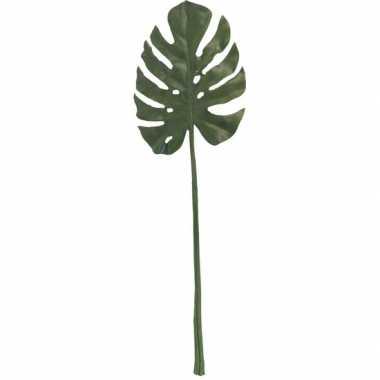 Monstera gatenplant kunstblad/kunsttak groen 85 cm