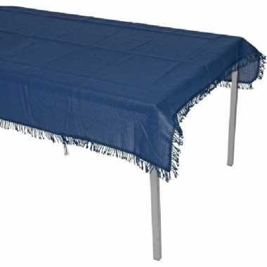 Navy blauw tuin tafellaken met franjes voor buiten 180 x 140 cm polye