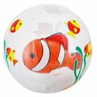 Opblaasbare bal doorschijnend met vis 61 cm buitenspeelgoed