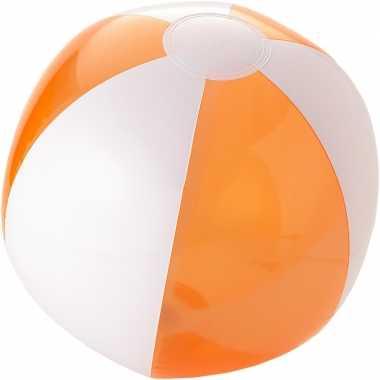 Opblaasbare bal oranje/wit 30 cm buitenspeelgoed