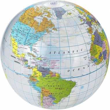 Opblaasbare bal wereldbol/aarde 25 cm buitenspeelgoed