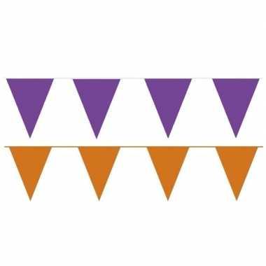 Orange and purple thema party vlaggetjes