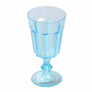 Plastic camping wijnglas blauw 15 cm