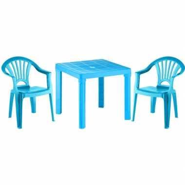 Plastic tafel met 2 stoelen setje blauw voor kinderen