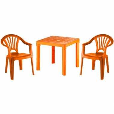 Plastic tafel met 2 stoelen setje oranje voor kinderen