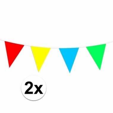 Plastic vlaggenlijn gekleurd 60 meter
