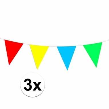 Plastic vlaggenlijn gekleurd 90 meter