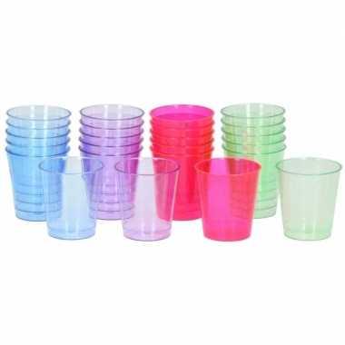 Plastic wegwerp borrel glaasjes 128 stuks