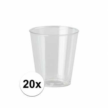 Plastic wegwerp borrel glaasjes 20 stuks