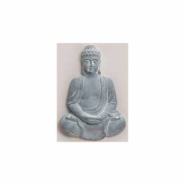 Polyhars boeddha beeld blauw grijs 55 cm