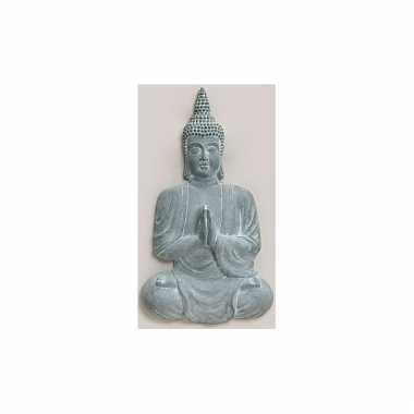 Polyhars boeddha beeld blauw grijs 80 cm