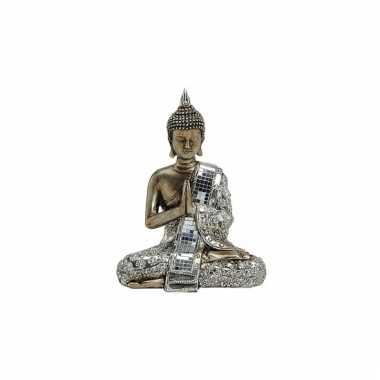 Polyhars boeddha beeld zilver 21 cm