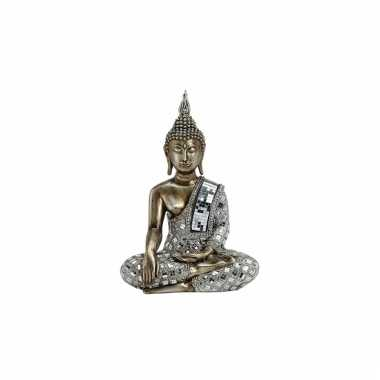 Polyhars boeddha beeld zilver 33 cm
