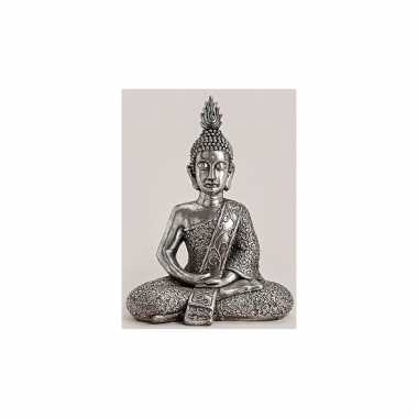 Polyhars boeddha beeld zilver 56 cm