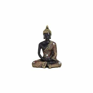 Polyhars boeddha beeld zwart met goud 11 cm