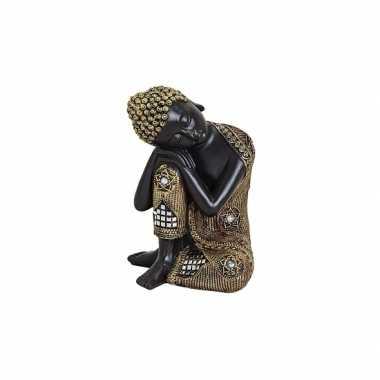 Polyhars boeddha beeld zwart met goud 17 cm