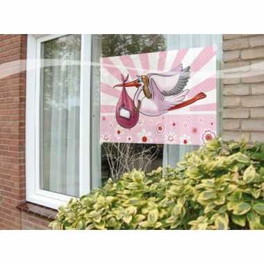Raamvlag geboorte meisje feestartikelen 60 x 90 cm