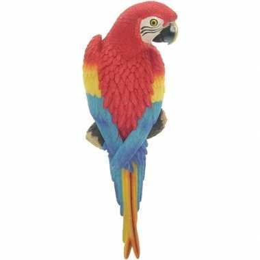 Rode decoratie ara papegaaien 31 cm dierenbeelden/tuinbeelden